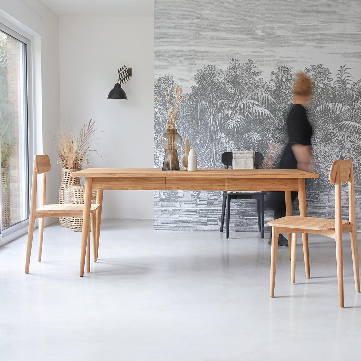 Table de salle à manger 180x80 en teck massif Jonàk
