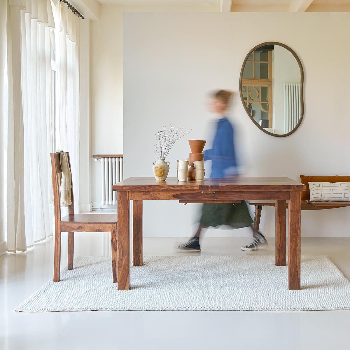 Table en palissandre massif à rallonges 180x90 Mezzo