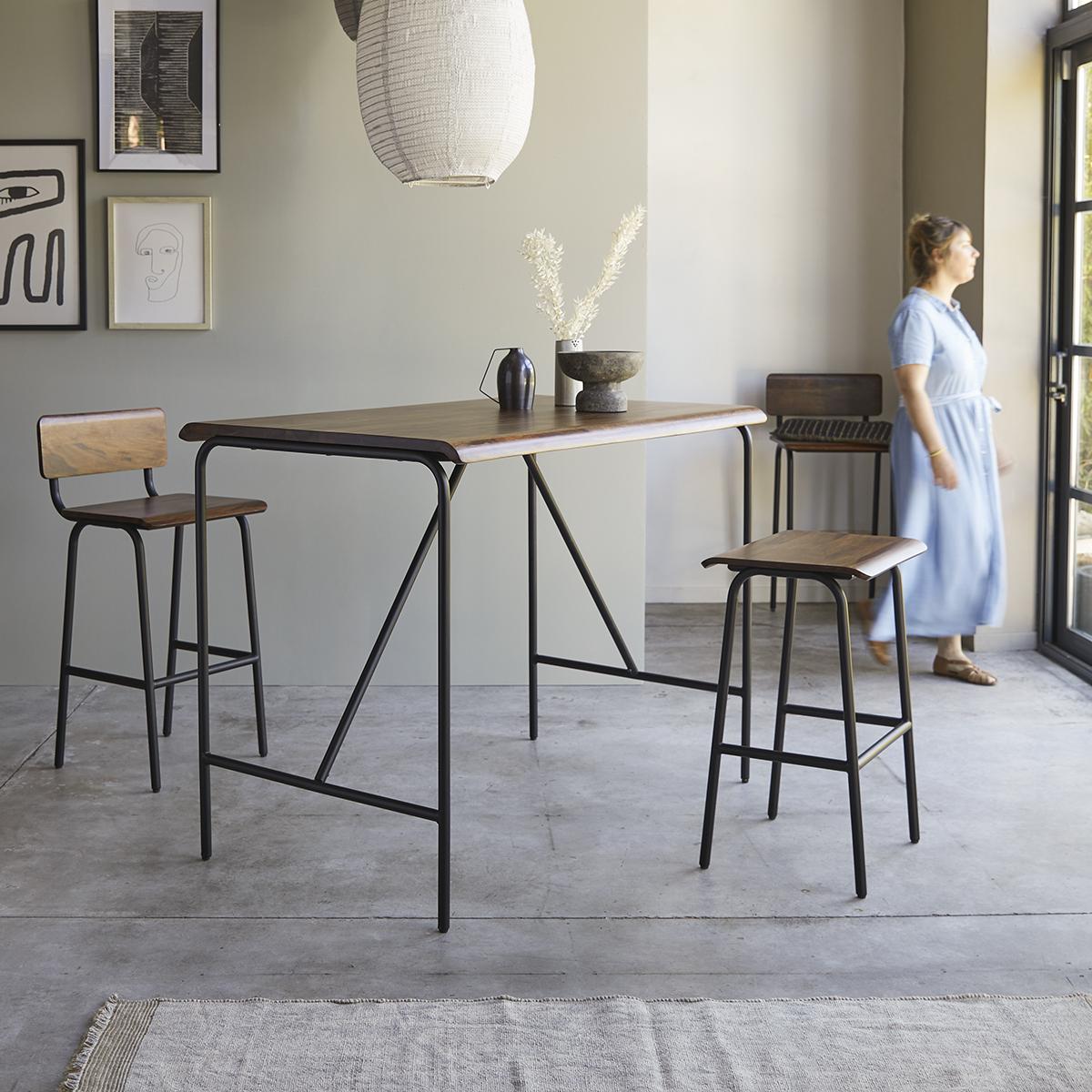 Table haute en palissandre massif et métal Talia 4 pers.