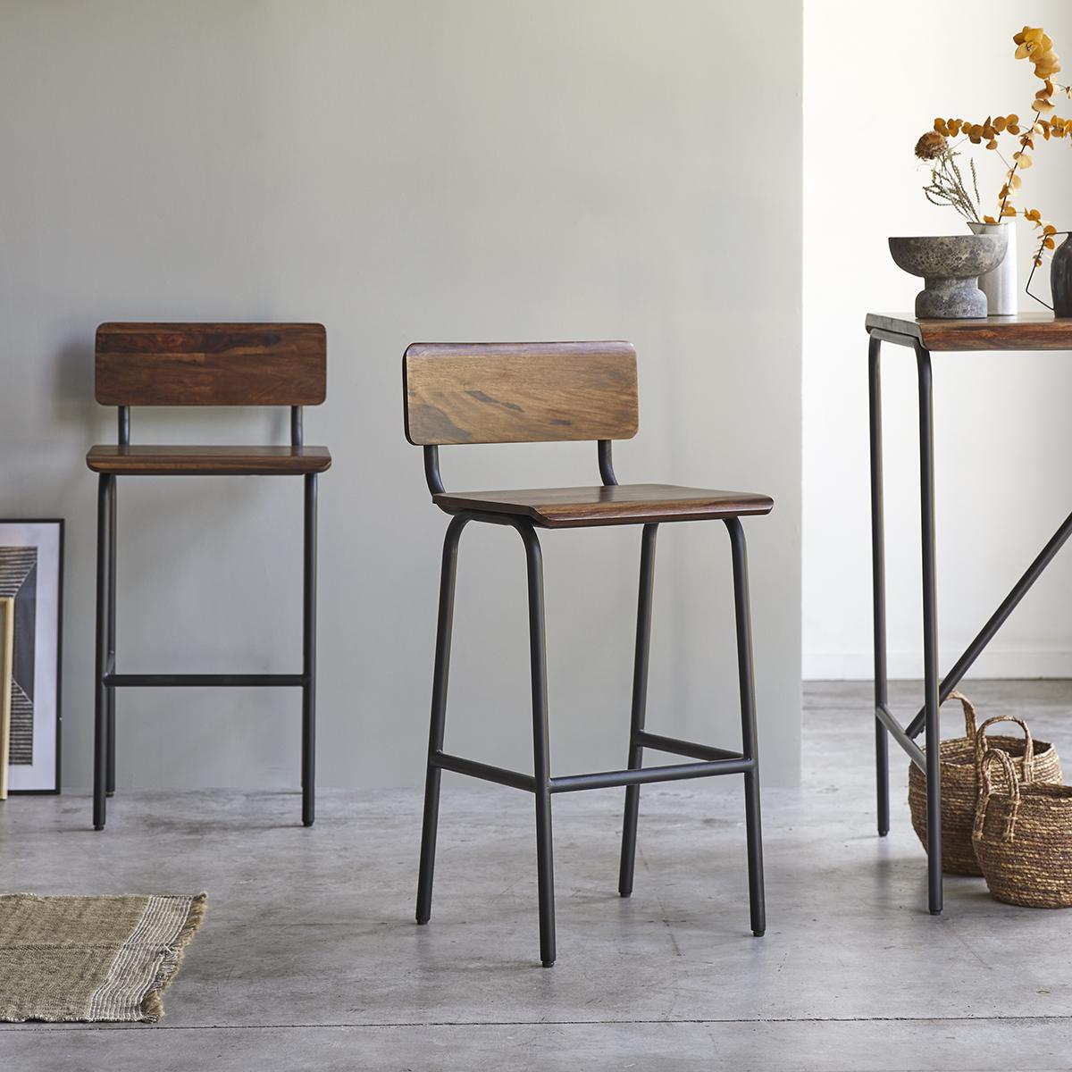 Talia solid sheesham and metal Bar Chair
