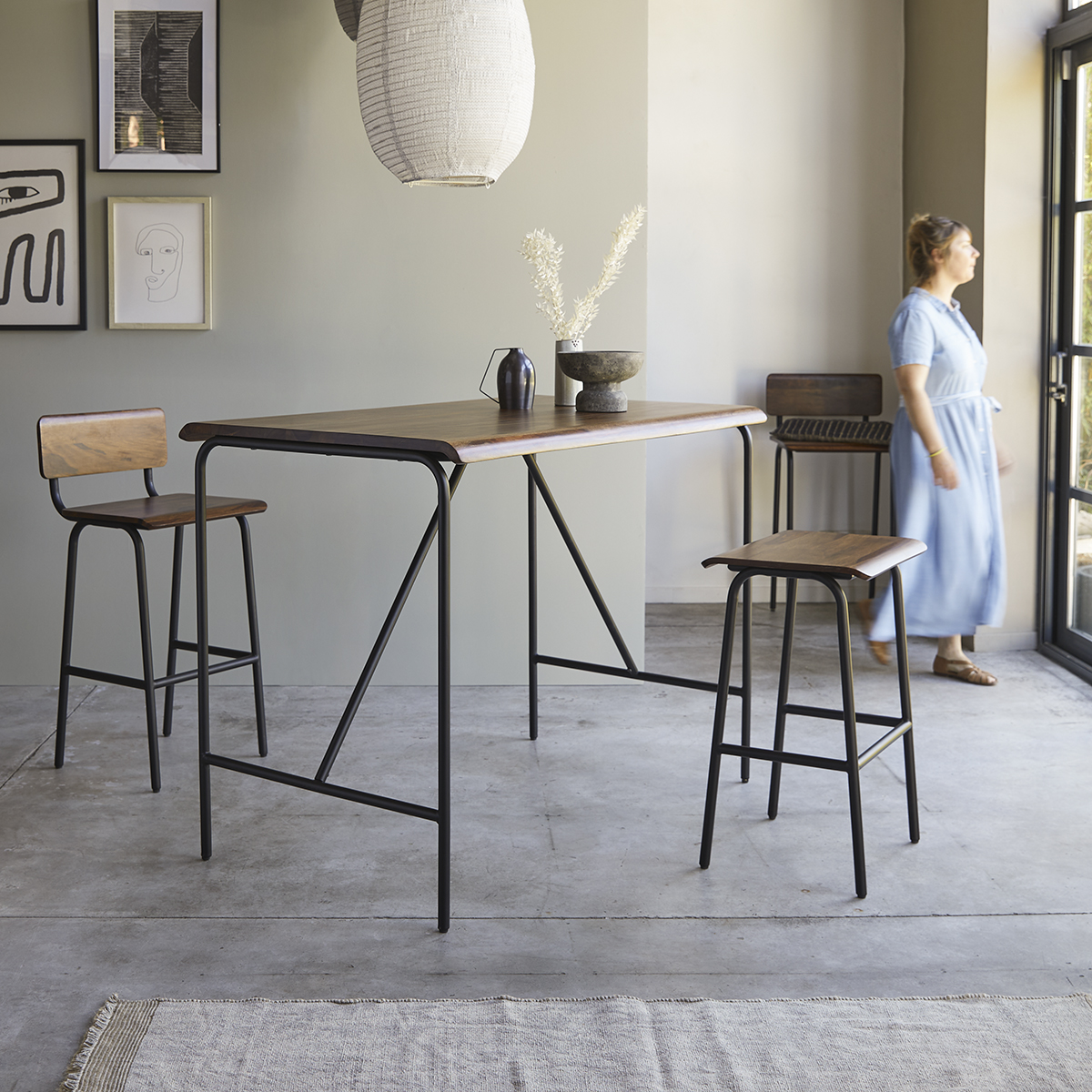 Talia solid sheesham and metam Bar Table, seats 4