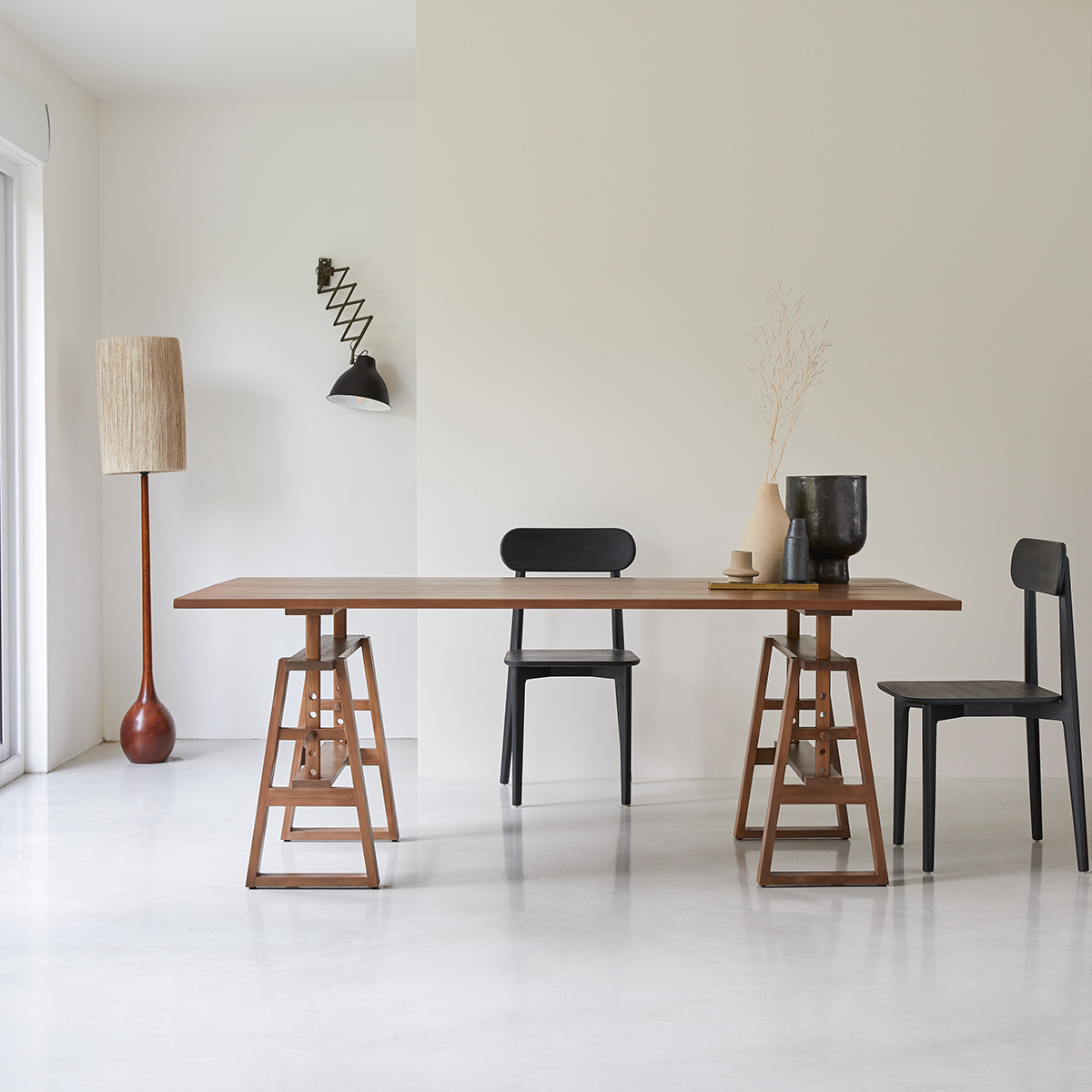 Trestle solid teak Table, seats 6/8